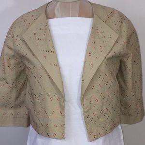 Chadwick's  dash print cropped linen jacket